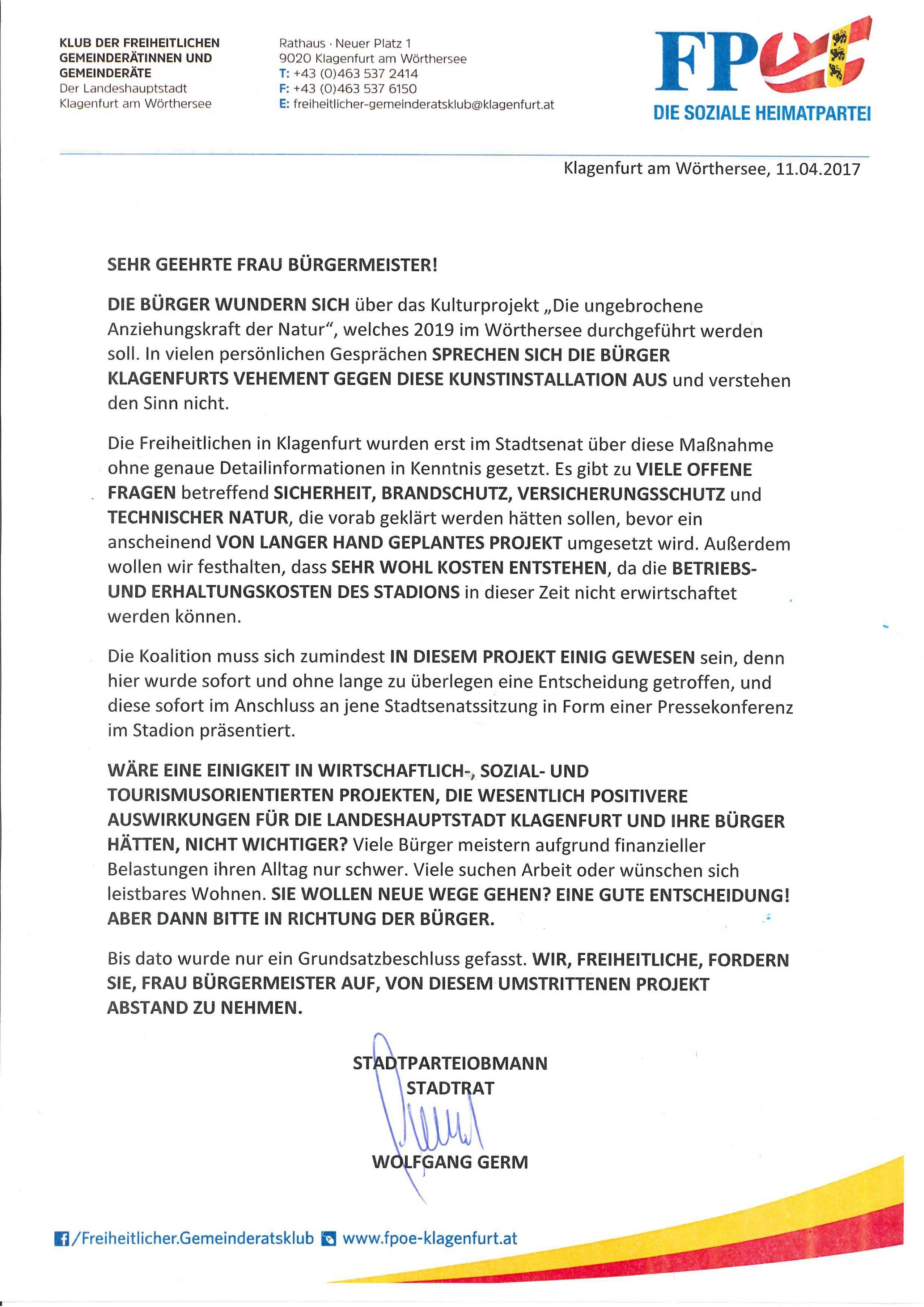 Offener Brief Zum Kunstprojekt Im Stadion Bürgermeisterin Soll